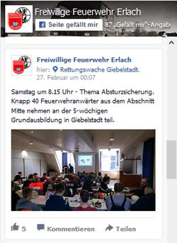 Facebook Seite FF Erlach
